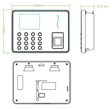 Kích thước máy chấm công wifi WL30