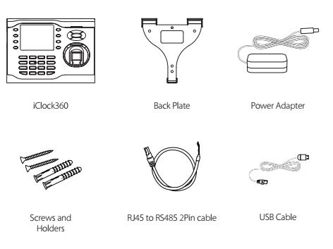 Các thiết bị nằm trong hộp máy chấm công iClock360
