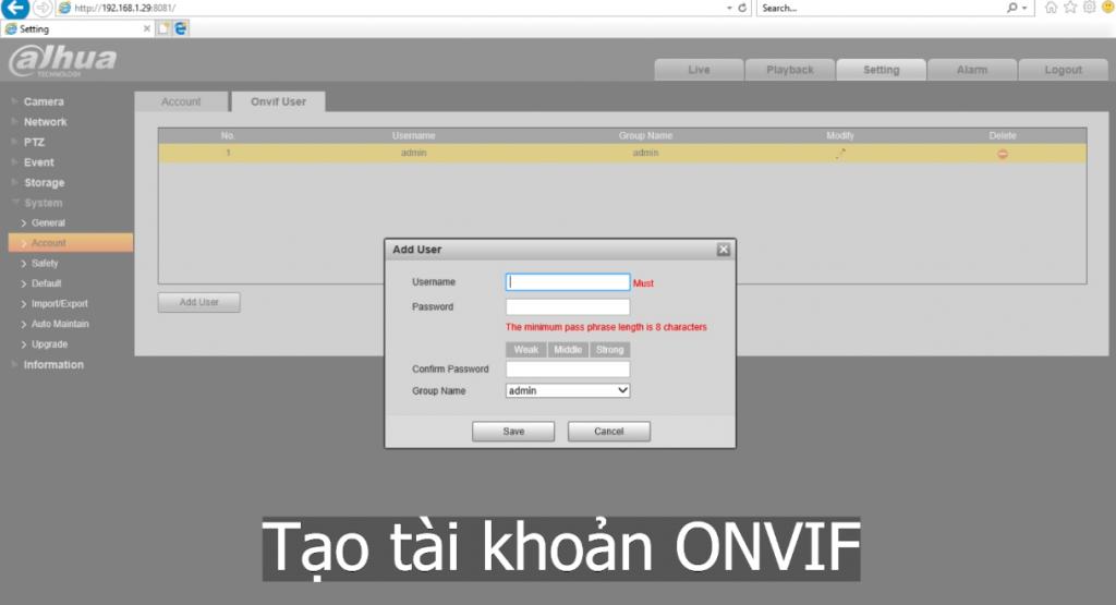 Tạo tài khoản onvif Dahua
