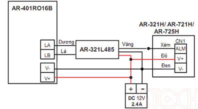 Sơ đồ đấu nối AR-721H với AR-401RO16