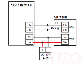 Sơ đồ đấu nối AR-725E với AR-401RO16